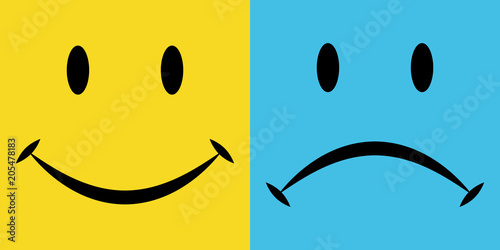 Fotografie, Tablou  smile and sorrow, the emotions joy and disappointment, vector icons, emotions of