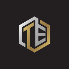 Initial Letter TE, Looping Line, Hexagon Shape Logo, Silver Gold Color On Black Background