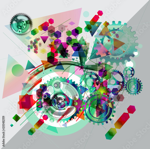 Красочные механические механизмы на абстрактном фоне