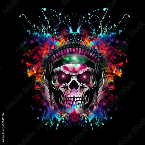 Цветной череп, изолированных на фоне