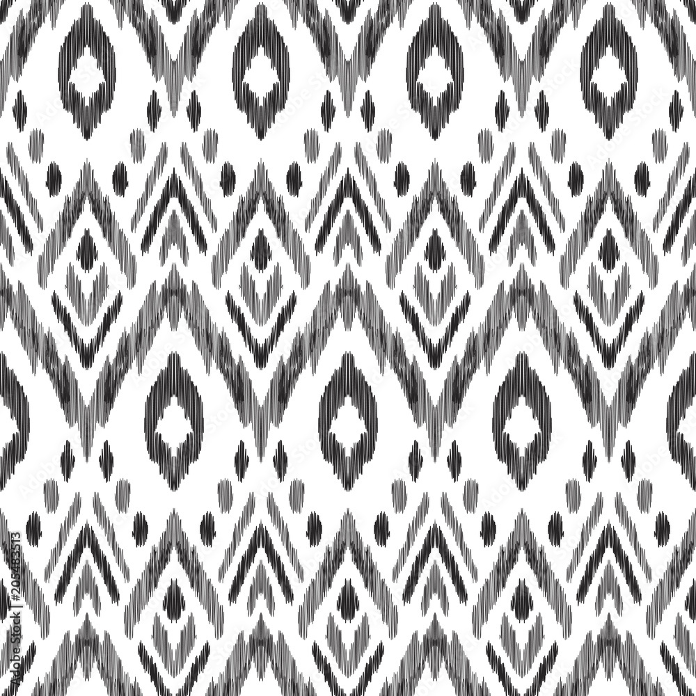 Tribal pattern. Seamless background. Scribble texture. Black and white graphic design. Creative vector illustration. Ethnic boho ornament. Impressive fashion print.
