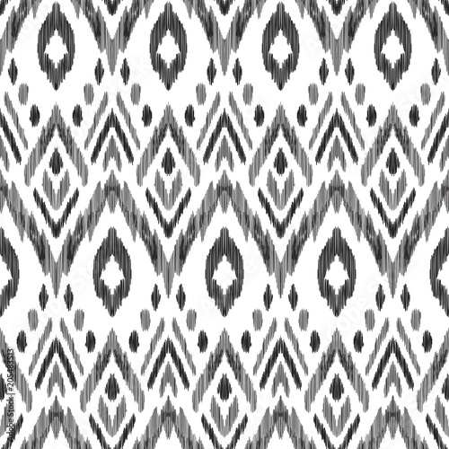 Deurstickers Boho Stijl Tribal pattern. Seamless background. Scribble texture. Black and white graphic design. Creative vector illustration. Ethnic boho ornament. Impressive fashion print.