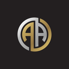 Initial Letter AA, Looping Line, Circle Shape Logo, Silver Gold Color On Black Background