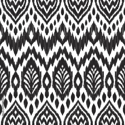 Poster Boho Stijl Tribal pattern. Seamless background. Scribble texture. Black and white graphic design. Creative vector illustration. Ethnic boho ornament. Impressive fashion print.