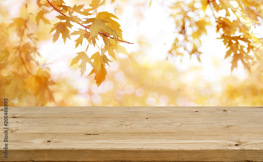Fototapety, obrazy: Wooden table in front of abstract blurred colorful autumn background