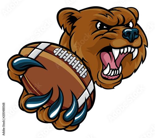 Bear American Holding Football Ball Wallpaper Mural