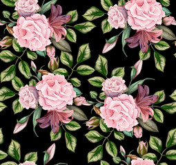 Fototapeta Róże vector rose flower blossom leaf seamless pattern