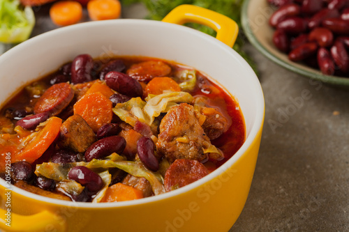 Traditional portuguese goulash with cabbage, beans and ribs. Poster