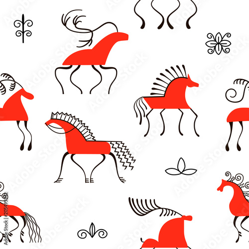 Fotografia, Obraz  Six red horses seamless pattern
