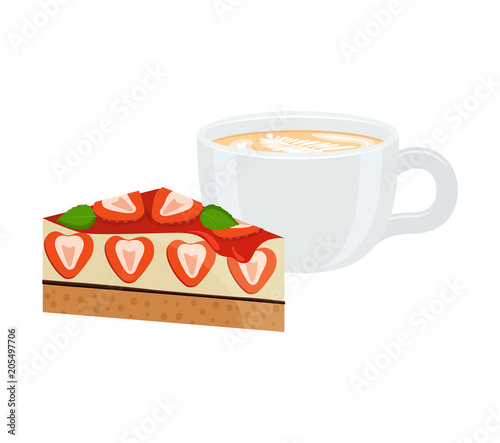 Staande foto Thee Latte in Cup and Cake Poster Vector Illustration