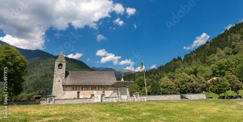 Poster Historisch geb. Church of San Vigilio - Pinzolo Trentino Italy