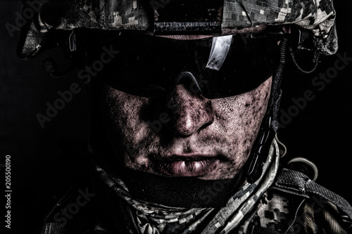 Fotografía  Cropped close up portrait of US special operations forces soldier, marine raider