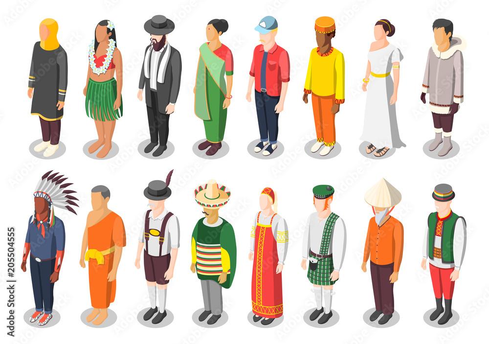 Fényképezés Multinational World Culture Isometric Icons