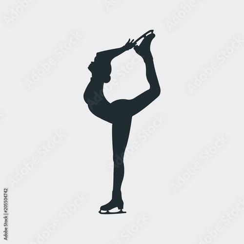 Fotografie, Obraz  Icono plano silueta mujer patinando sobre hielo en fondo gris