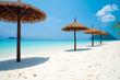 Beautiful tropical island white sand beach blue sky sunny day - Summer breeze holiday