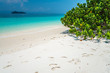 Beautiful tropical island white sand beach blue sky sunny day - Summer breeze holiday