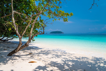 Beautiful tropical island white sand beach blue sky sunny day - Summer breeze travel holiday