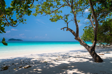 Beautiful tropical island white sand beach blue sky sunny day - Summer breeze traveling holiday