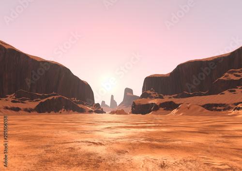 Foto auf Leinwand Rotglühen 3D Rendering Canyon Valley