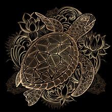Vector Sea Turtle Gold