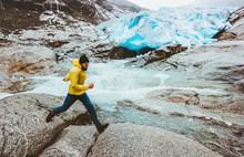 Running Man In Glacier Mountai...