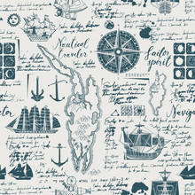 Vector Abstract Seamless Background On The Theme Of Travel, Adventure And Discovery. Old Manuscript With Caravels, Wind Rose, Anchors And Other Nautical Symbols With Blots And Stains In Vintage Style