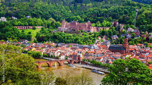 Fototapeta Heidelberg town with the famous old bridge and Heidelberg castle, Heidelberg, Germany obraz na płótnie