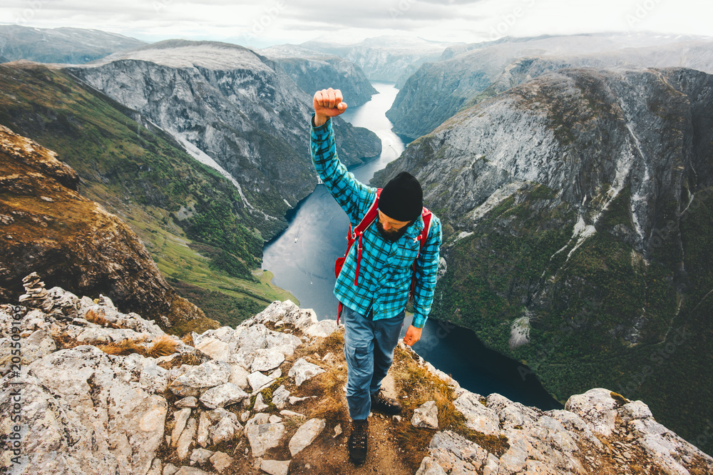 Fototapety, obrazy: Happy Man traveling in Norway mountains  active lifestyle weekend getaway adventure vacations success winner concept aerial view landscape