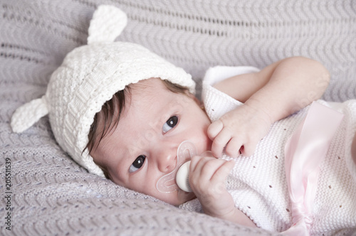 231cedfbc Cute little baby sleeping with wool cap - Buy this stock photo and ...