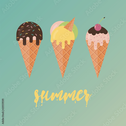 Plakát Collection of 3 vector ice cream illustrations. Flat design.