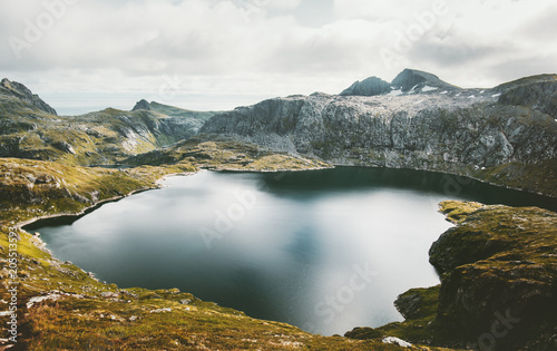 Foto op Canvas Wit Lake and Mountains Landscape in Norway Travel scenery scandinavian nature aerial view