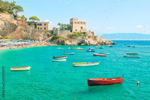 Spoed Foto op Canvas Mediterraans Europa fishing boats near small european beach