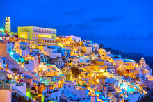 Thira Town At Night