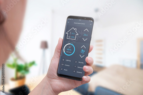 Control home temperature, light, security with modern mobile phone app.