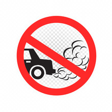 No Idling Turn Engine Off Sign Symbol Icon On White Transparent Background. Forbidden Exhaust Round Label. Smoke And Smog Danger. Environmental Pollution