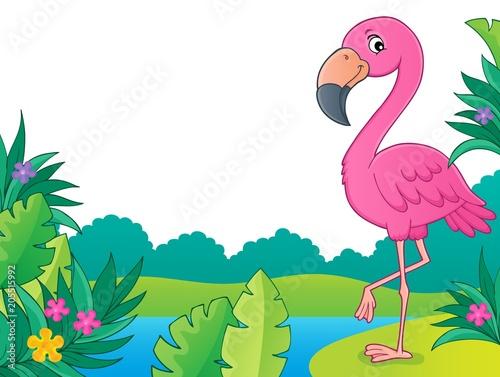 Foto op Canvas Voor kinderen Flamingo topic image 3