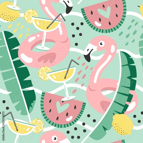 Cotton fabric Colorful seamless summer pattern with hand drawn beach elements.