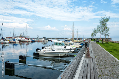 Foto op Canvas Poort Hjo harbor in spring scenery