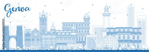 Outline Genoa Italy City Skyline with Blue Buildings. Obraz na płótnie