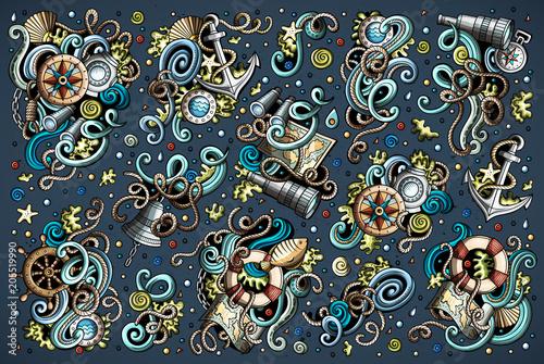 Obraz na plátně Set of marine, nautical objects and symbols