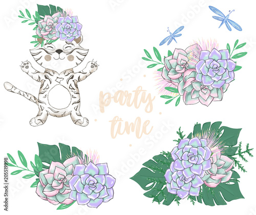 Tiger Digital Clip Art Cute Animal And Tropical Flowers Bounquets Party Time Text Greeting Celebration Birthday Card Funny African Wildlife Kid Style