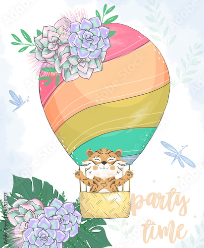 Tiger In Basket Balloon Digital Clip Art Cute Animal And Flowers On Head Party Time Text Greeting Celebration Birthday Card Funny African Wildlife Kid