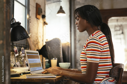 Young woman sitting at desk in a loft working on laptop