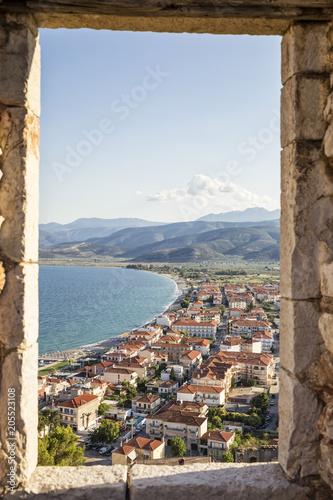 Greece, Pelopnnes, View on Paralia Astros through castle window