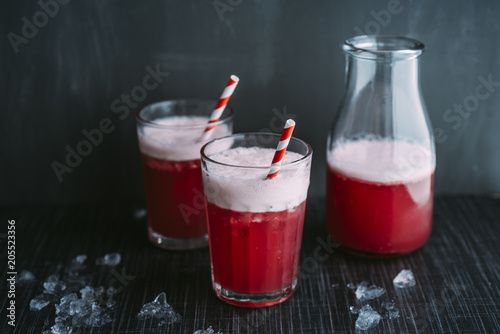 Drink: Switchel, cool summer drink with ginger, apple vinegar,coconut water, cranberry juice, lemon, cruched ice, honey