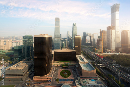 Foto op Aluminium New York High angle view of Beijing Central Business District skyscrapers building at sunset in Beijing ,China.