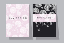 Pale Rose And Black Dandelion Flowers Card Template.