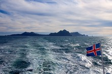 Islands View From A Ferry, Icelandic Flag