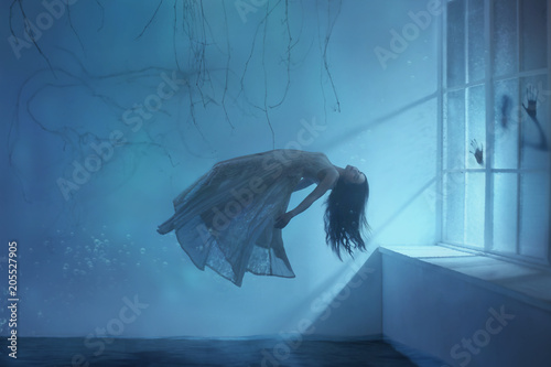 A ghost girl with long hair in a vintage dress Wallpaper Mural
