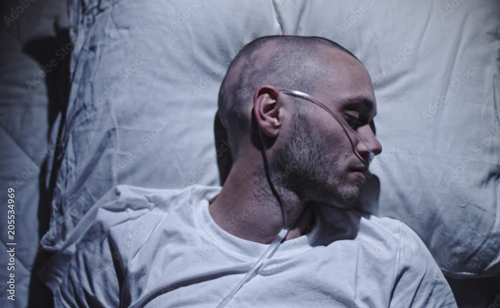 Fototapeta Cancer Terminal Patient Waiting on Deathbed